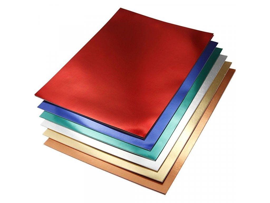 Metalické čtvrtky ke kreativnímu tvoření - 210x297 mm, 280 g