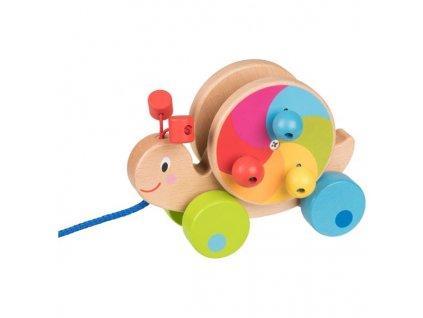Tahací dřevěný barevný šnek na provázku