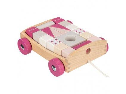 Dřevěný tahací vozík s kostkami Goki - 20 kostek - růžový