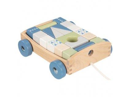 Dřevěný tahací vozík s kostkami Goki - 20 kostek - modrý