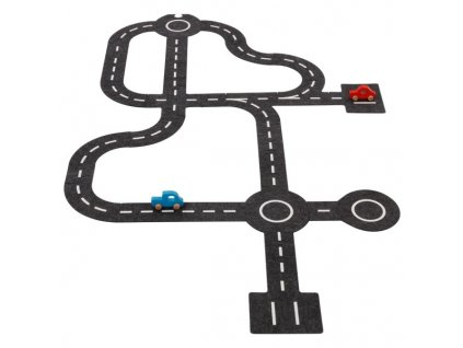 Velká silnice a křižovatky z filcu a 2 dřevěná autíčka