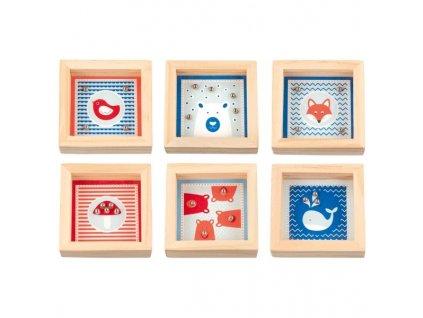 Kuličkové bludiště s motivy: ptáček, velryba, mochomůrka, liška, lední medvěd a medvídci