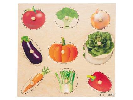 Velké dřevěné vkládací puzzle se zeleninou Rolf