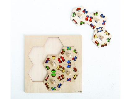 Dřevěné vkládací puzzle s motivy dopravních prostředků Rolf