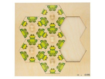 Dřevěné vkládací puzzle s motivem žabiček Rolf