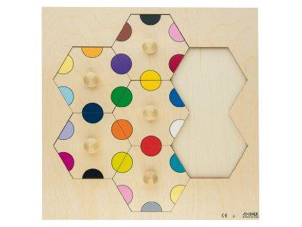 Dřevěné vkládací puzzle s barvičkami Rolf
