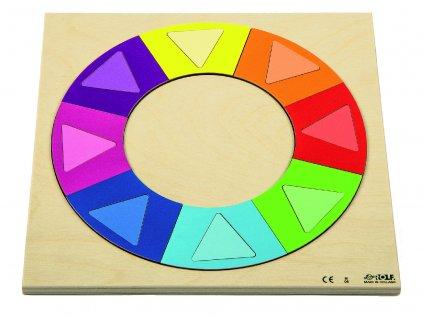 Dřevěné vkládací puzzle duhový kruh Rolf Rainbow circle