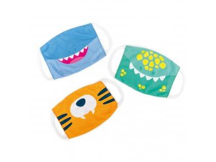 Dětská rouška - set 3 kusů (motivy dinosaurus, tygr a žralok)