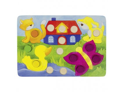 Mozaika barevná - 4 hráči + 4 desky 77dílů, 21 x 14 cm