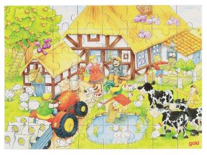7342 farma drevene puzzle v krabicce 48 dilku 37 x 27 cm