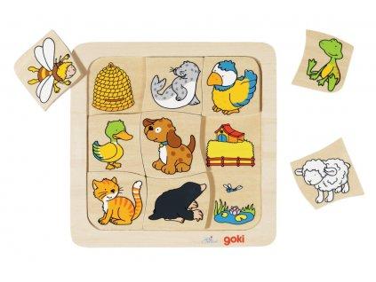 7438 kde ziji zviratka i puzzle 9 dilku 18 x 18 cm