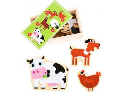 8104 dreveny puzzle box zviratka z farmy