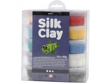 9114 kreativni tvarovaci hmota silk clay 10 barev