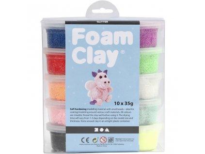 9117 kreativni kulickova tvrdnouci hmota s glitry foam clay 10 barev