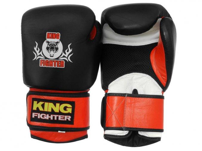 Boxerské rukavice King Fighter černé s odvětráváním