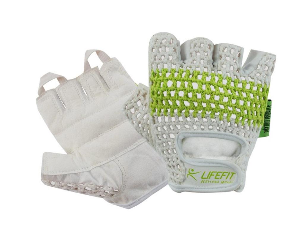 81a89a7e75d Fitness rukavice Lifefit Fit bílo zelené Velikost  M