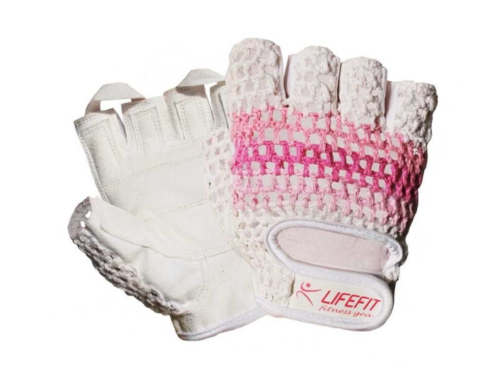 4d56e45fdd4 Fitness rukavice Lifefit Fit bílo růžové Velikost  M