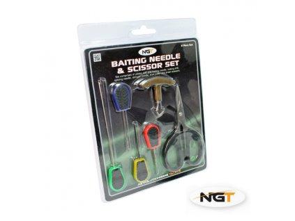 NGT Sada 6ks Baiting Needle & Scissor Set