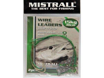 MISTRALL Lanko s jednoháčkem Green 1x7 30cm,15kg (2ks)