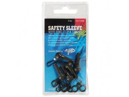 GIANTS FISHING MONTÁŽ SAFETY SLEEVE WITH RING, CLIP A SWIVEL, 5KS