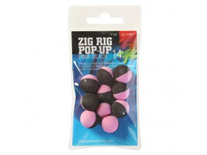 Giants Fishing Pěnové plovoucí boilie Zig Rig Pop-Up pink-black 14mm,10ks