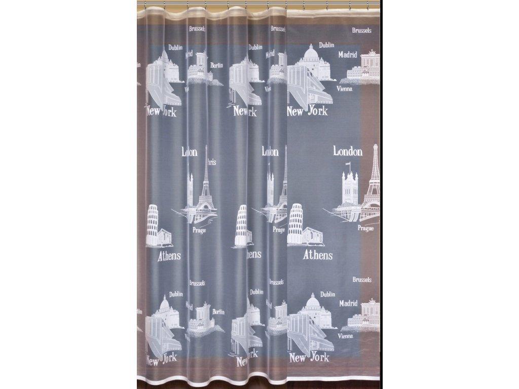 Záclona žakárová Cestovatelská - zbytky
