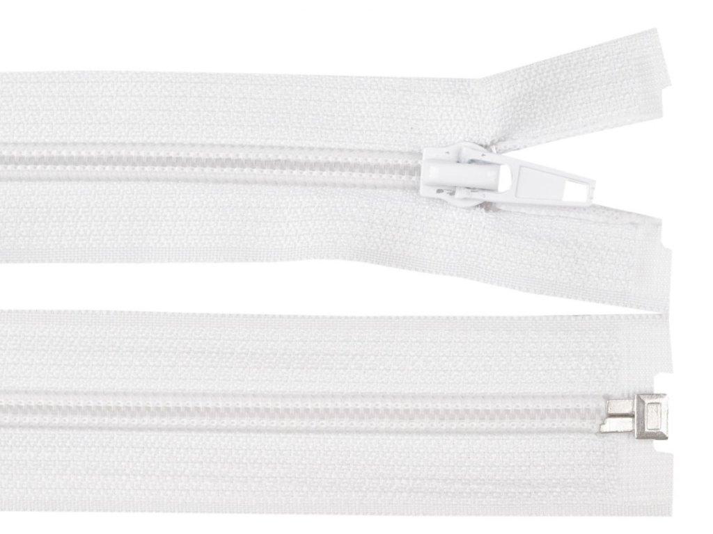 Bílý siprálový zip 40 cm
