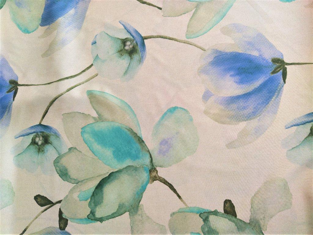 Dekorační látky tyrkysové květy