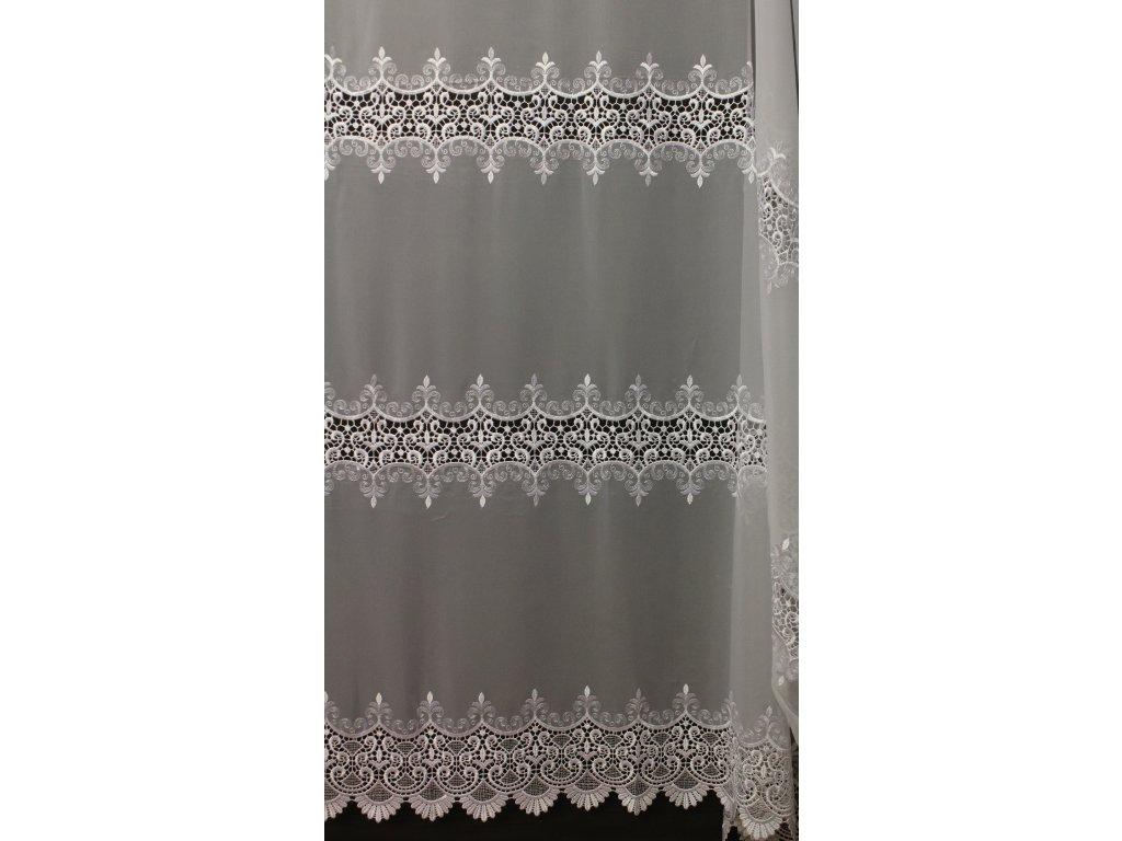 Voálová záclona s luxusní krajkou a výšivkou 13292