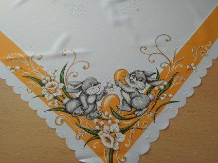 Velikonoční dečka se zajíčkem - oranžová