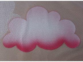 Záclona žakárová Mráčky s barevným vzorem - růžová