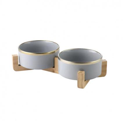 Luxusní keramická sada misek pro kočky GOLD grey