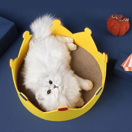 Škrabací pelíšek pro kočičky Koruna, Ø 42 cm