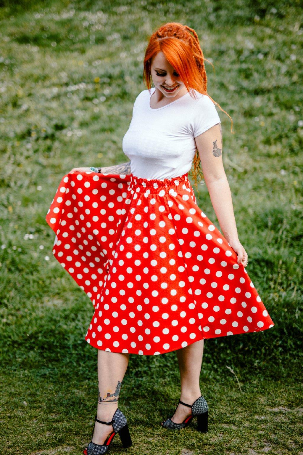 sukně VELKÉ PUNTÍKY 22mm v barevných variantách