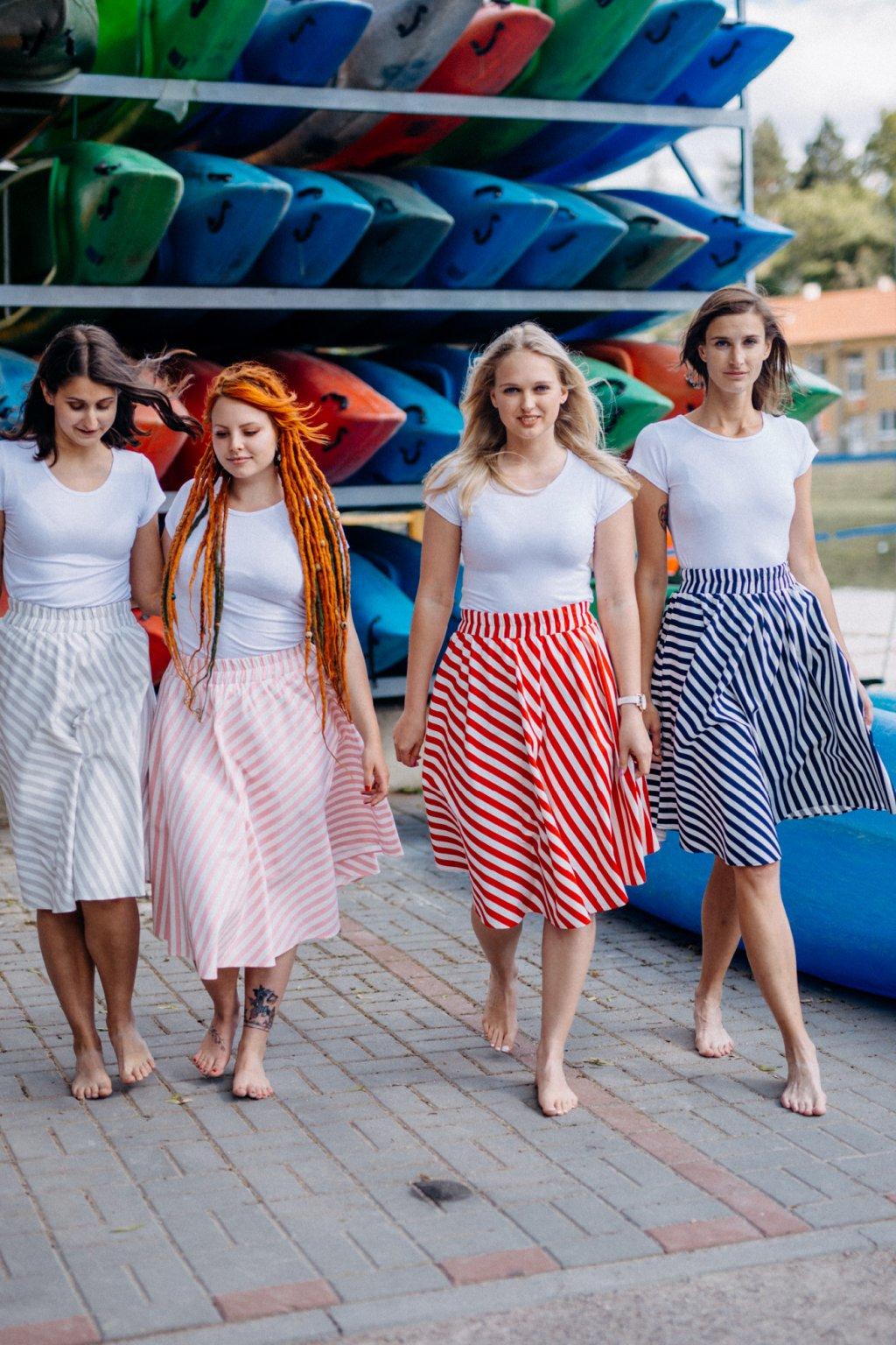 sukně PRUHY 13mm v barevných variantách