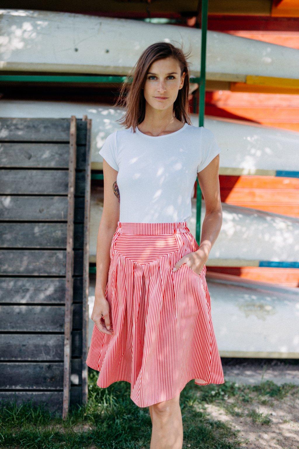 sukně s kapsami TENKÝ PROUŽEK 3mm v barevných variantách