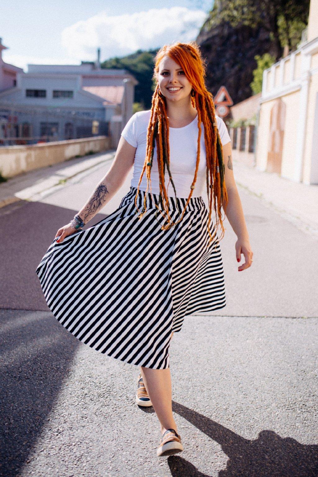 sukně PRUHY 12mm v barevných variantách