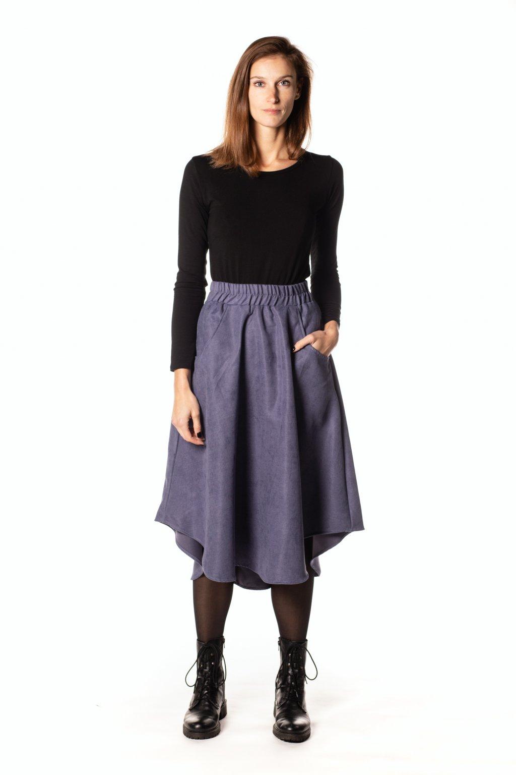 FIALOVO-MODRÁ asymetrická sukně (manšestr jemný)