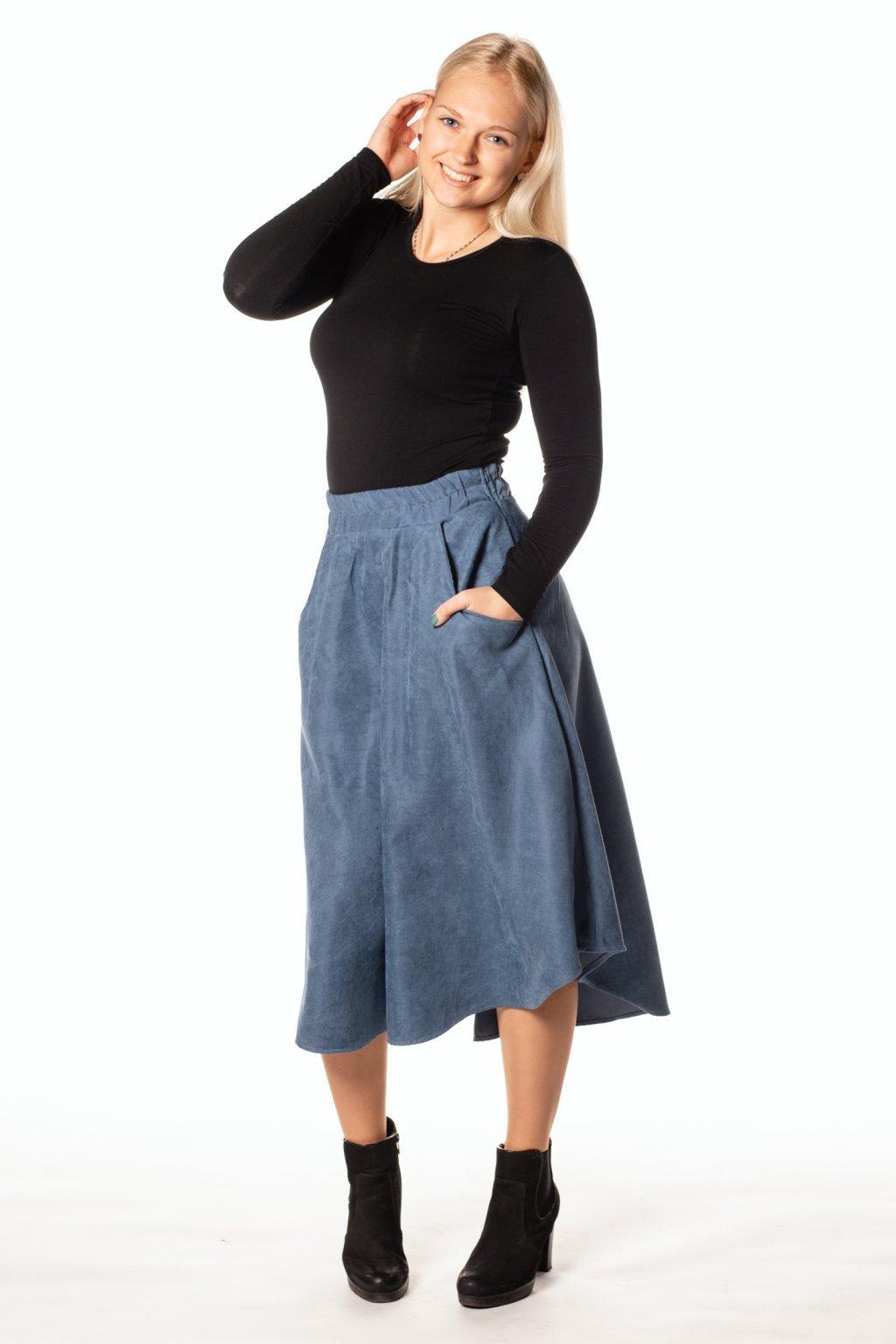 MODRÁ asymetrická sukně (manšestr jemný)