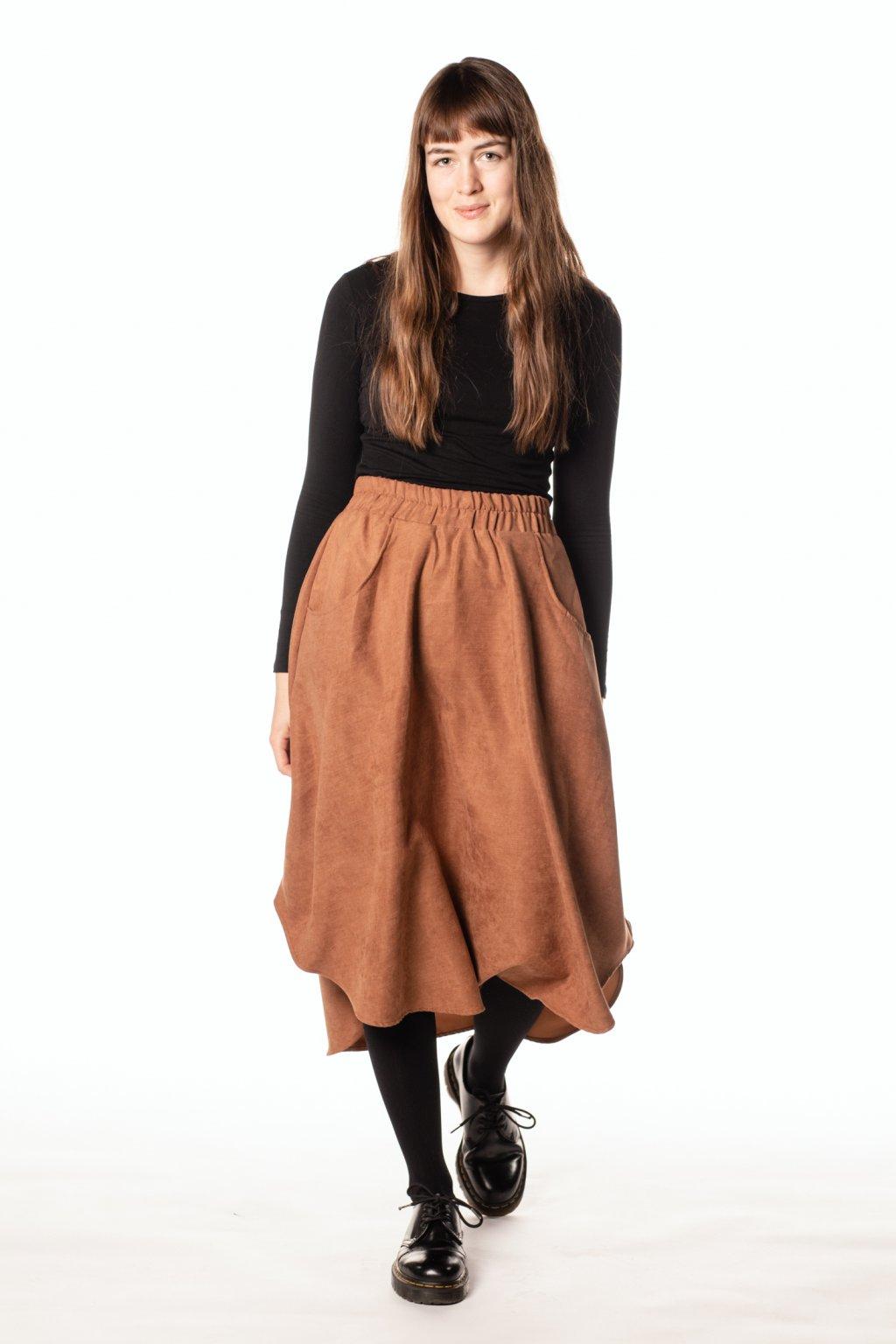 HNĚDÁ asymetrická sukně (manšestr jemný)