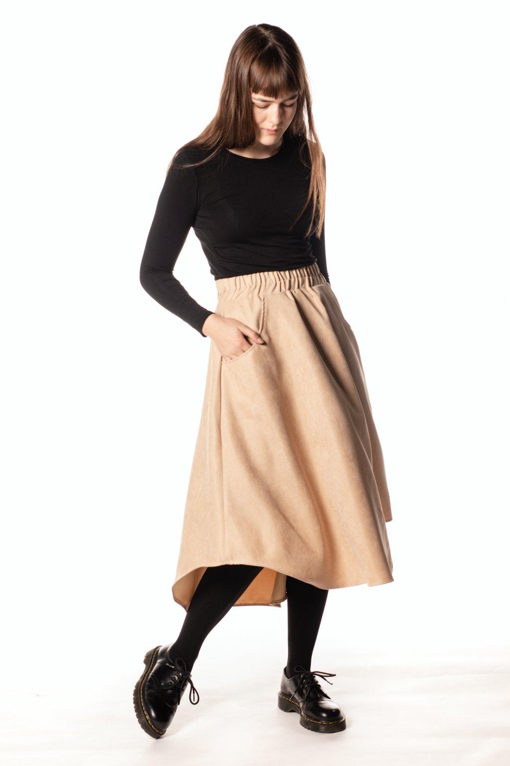 BÉŽOVÁ asymetrická sukně (manšestr jemný)