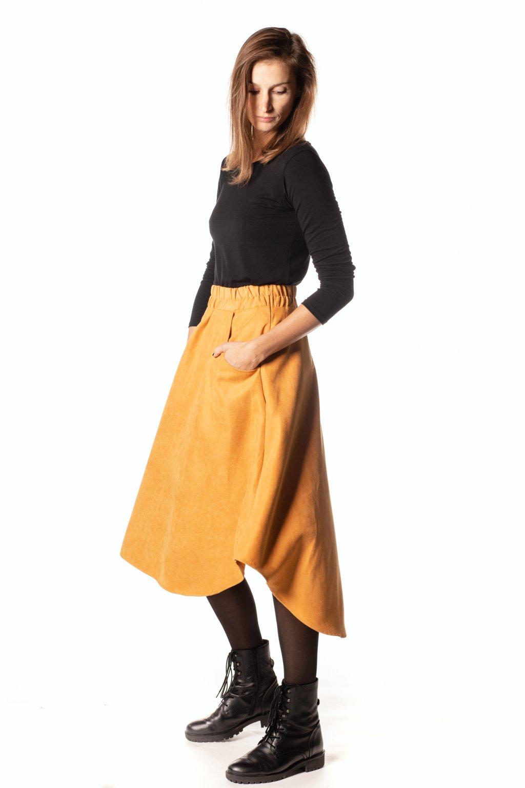 HOŘČICOVĚ ŽLUTÁ asymetrická sukně (manšestr jemný)
