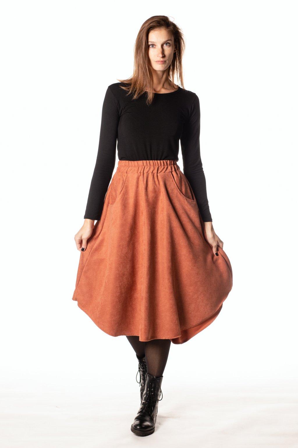 ORANŽOVÁ asymetrická sukně (manšestr jemný)