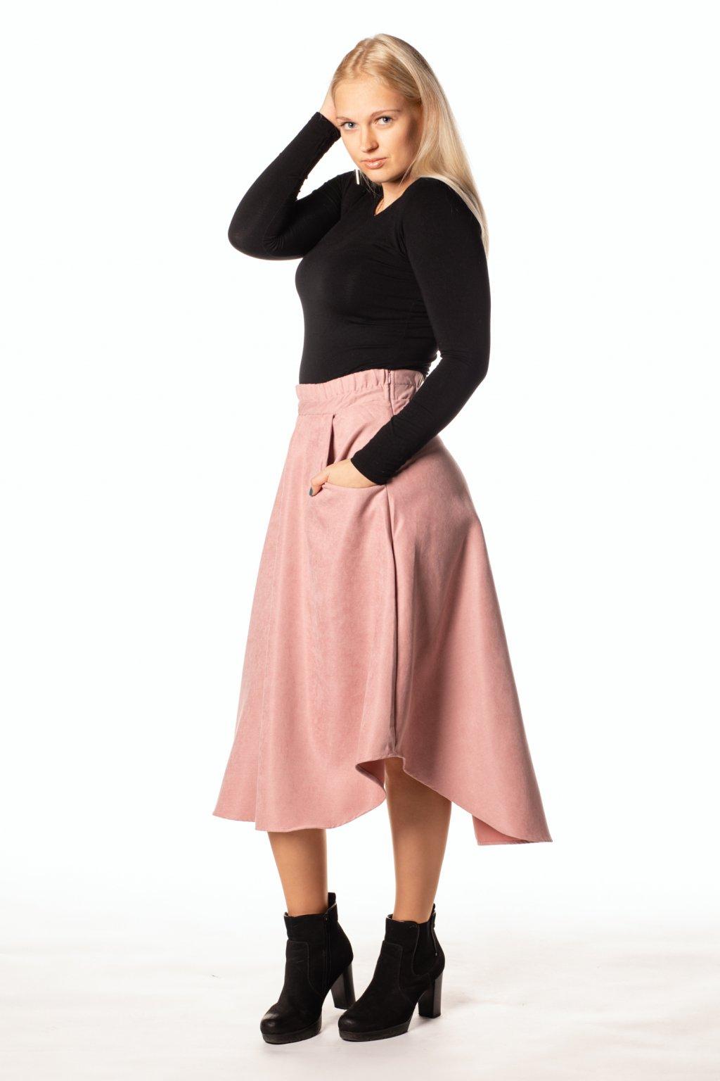STARORŮŽOVÁ asymetrická sukně  (manšestr jemný)