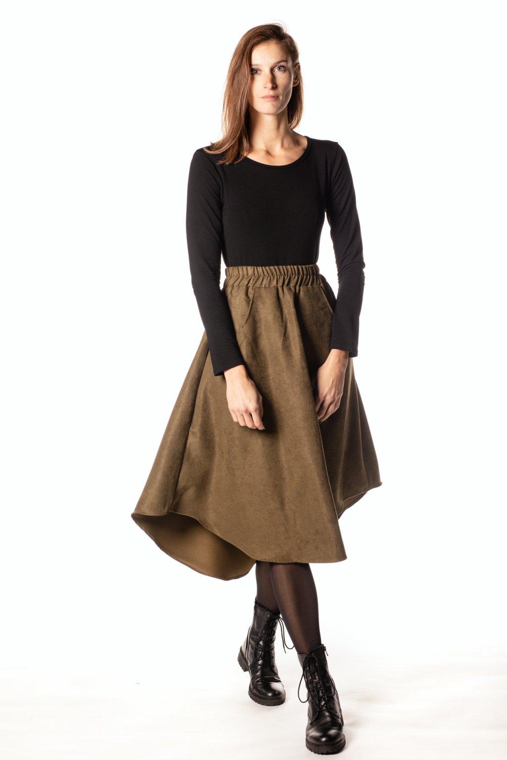 KHAKI ZELENÁ asymetrická sukně (manšestr jemný)