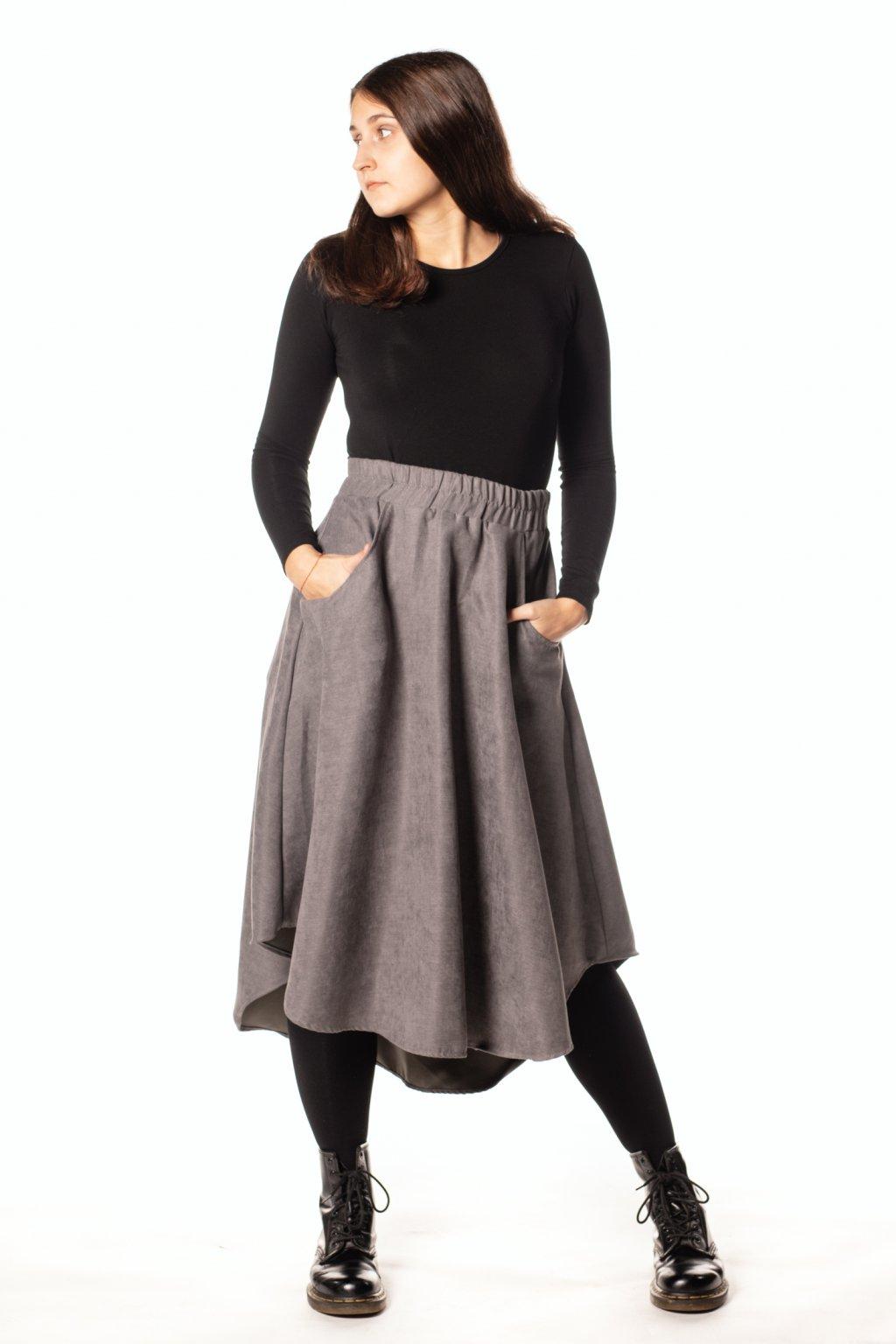 ŠEDÁ asymetrická sukně  (manšestr jemný)