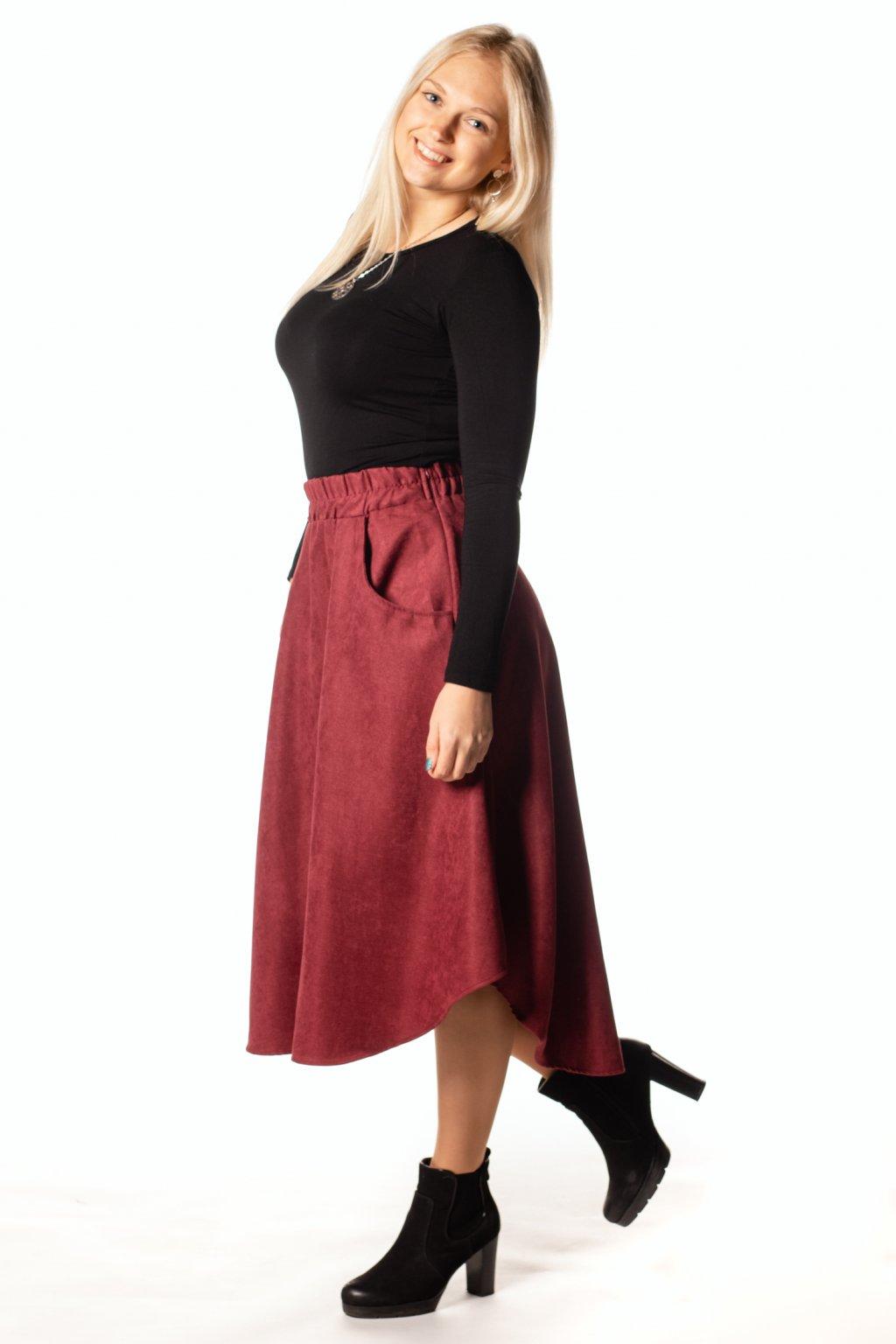 VÍNOVÁ asymetrická sukně (manšestr jemný)