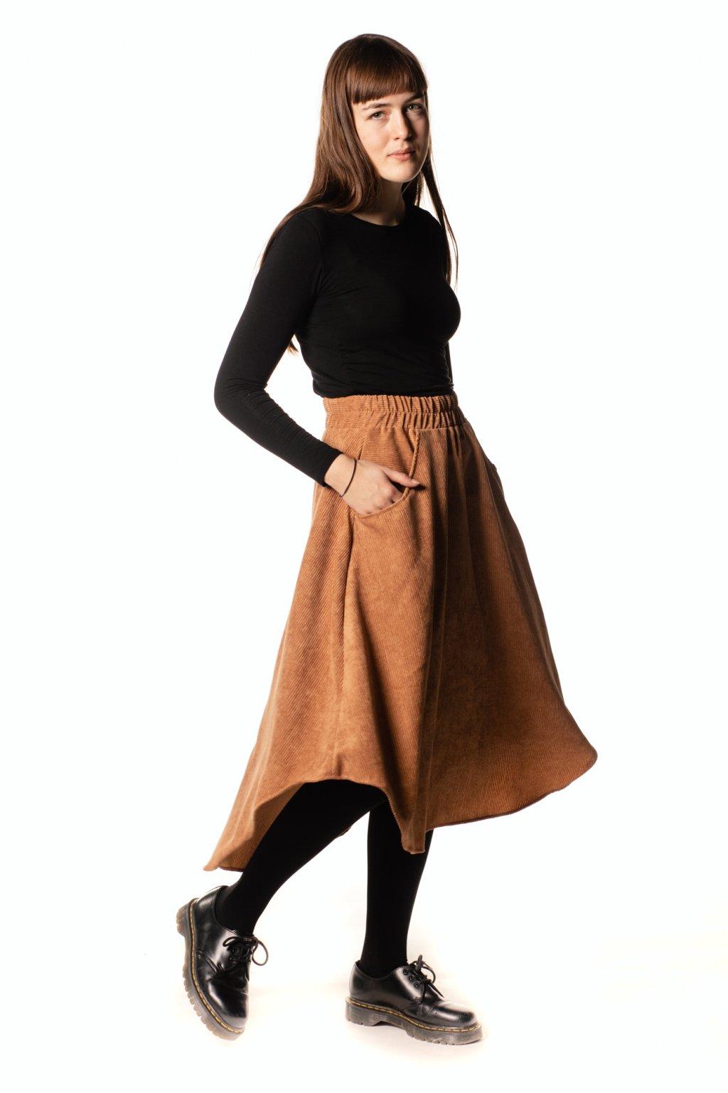 ORANŽOVO-HNĚDÁ asymetrická sukně (manšestr klasický)