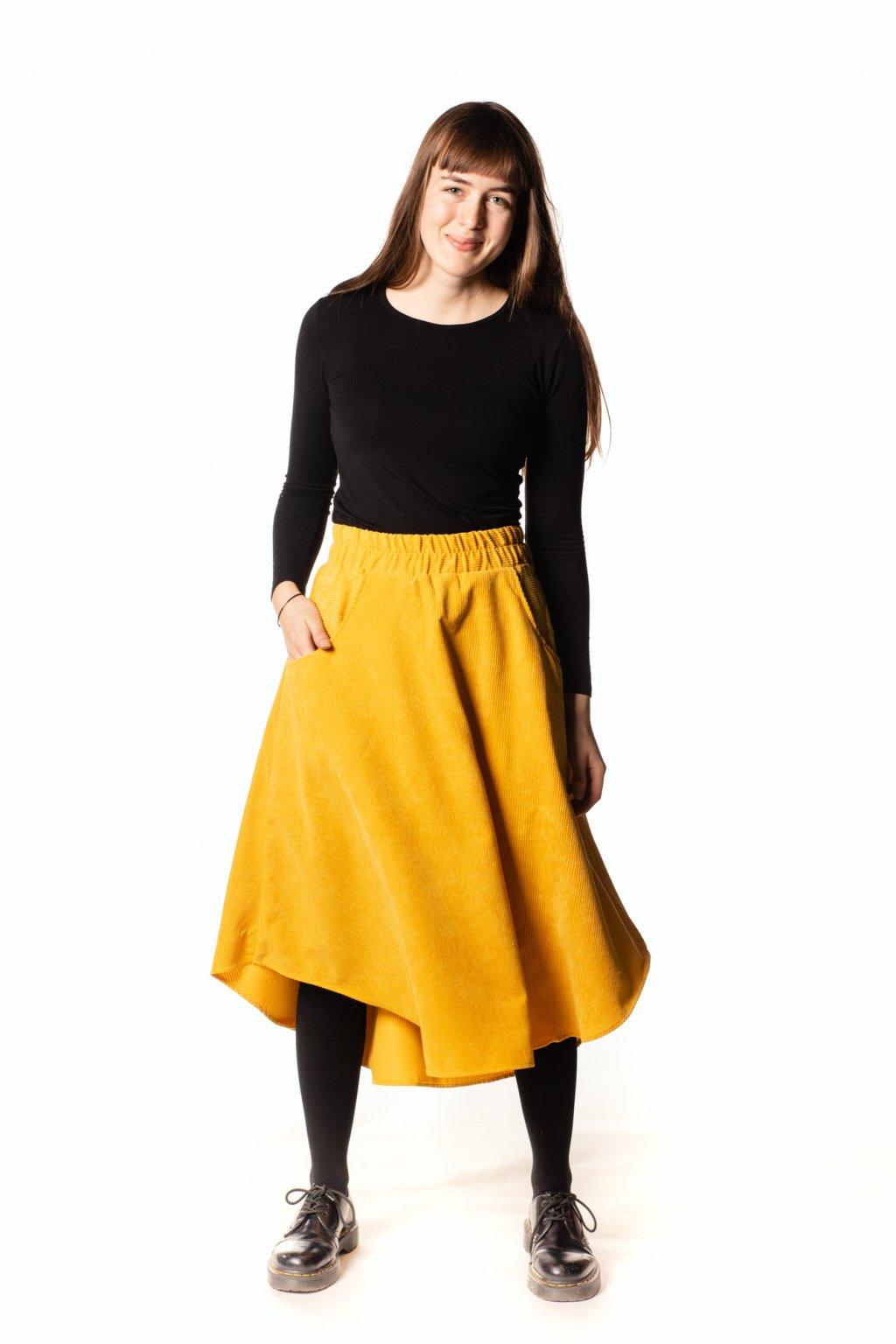 ŽLUTĚ ZÁŘIVÁ asymetrická sukně (manšestr klasický)