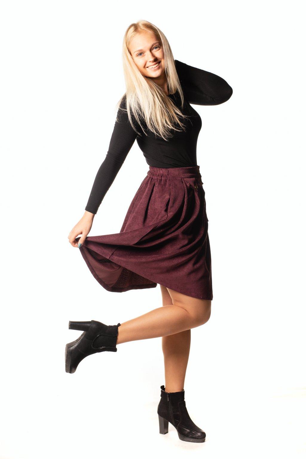 VÍNOVÁ sukně s klínem